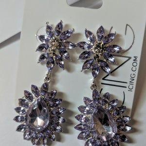 NWT Purple Gem Statement Drop Earrings